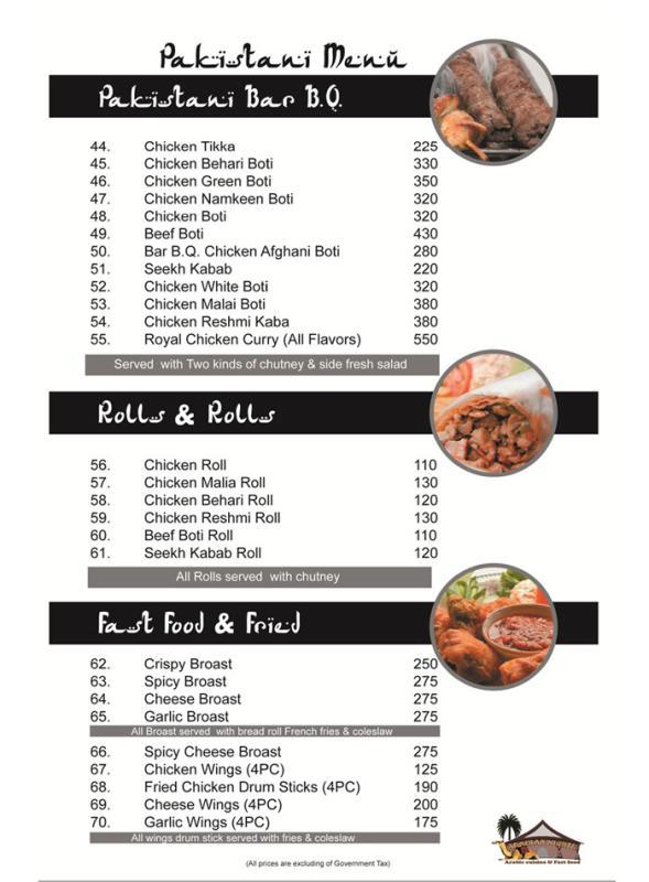 Arabian nights restaurant number karachi menu deals for Arabian cuisine menu