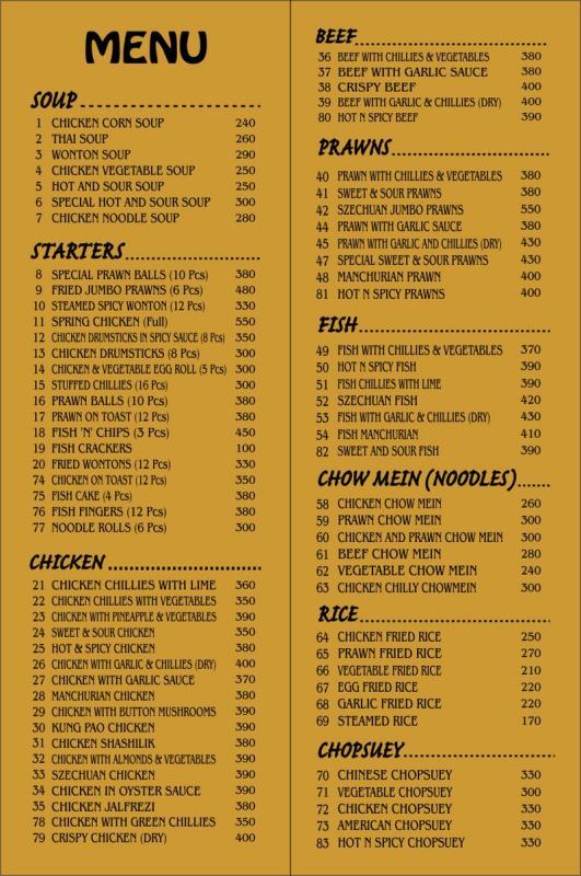Golden Dragon Chinese Cuisines Number Karachi Menu